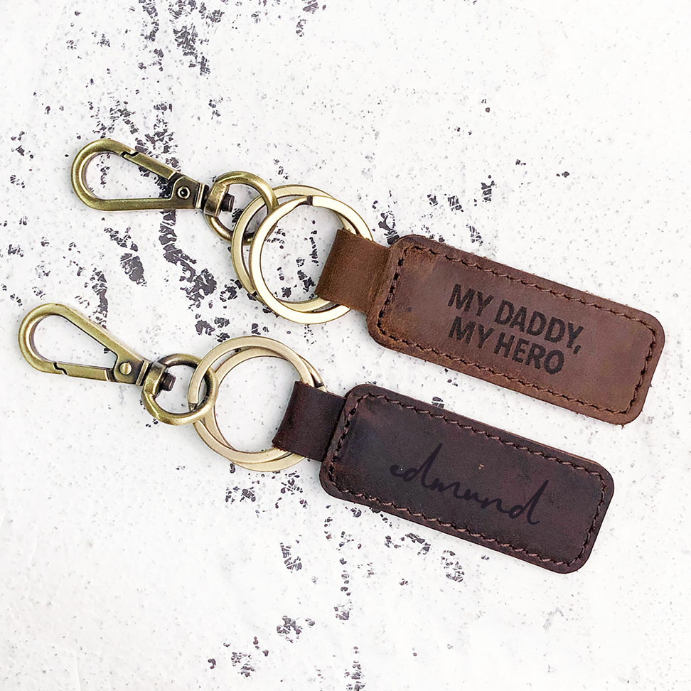 Leather Keyring Birthday Name Optional Engraving Seb